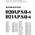 Komatsu D21a-6, D21p-6, D21p-6a, D21p-6b Dozer Service Manual