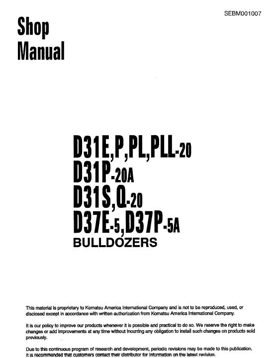 Komatsu D31E-20, D31P-20, D31PL-20, D31PLL-20 Dozer Manual