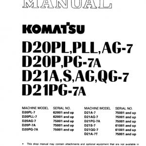 Komatsu D21a-7, D21s-7, D21ag-7, D21qg-7, D21pg-7a Dozer Manual