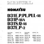 Komatsu D31P-18A, D31S-18, D31Q-18, D37E-2, D37P-2 Doozer Manual