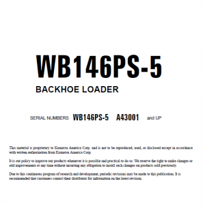 Komatsu Wb146ps-5 Backhoe Loader Service Manual