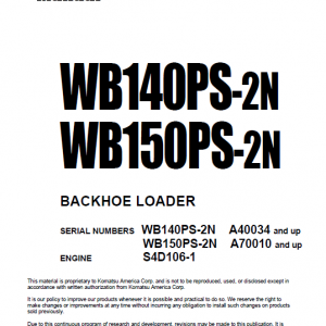 Komatsu Wb140ps-2n And Wb150ps-2n Backhoe Loader Service Manual