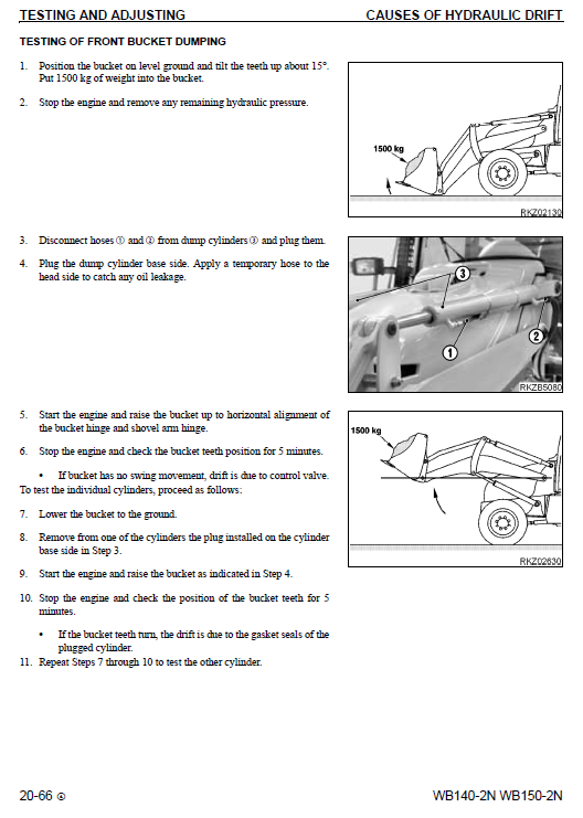 Komatsu Wb140-2 And Wb150-2 Backhoe Loader Service Manual