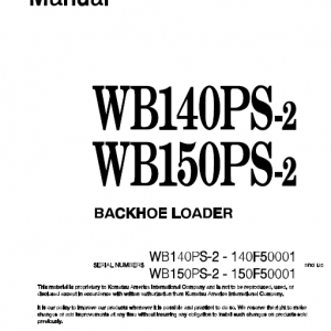 Komatsu WB140PS-2 and WB150PS-2 Backhoe Loader Service Manual
