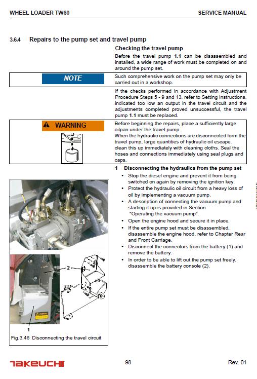 Takeuchi Tw60 Wheel Loader Service Manual