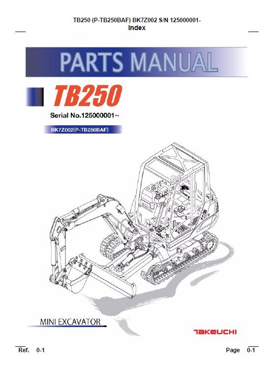 Takeuchi Tb250 Compact Excavator Service Manual