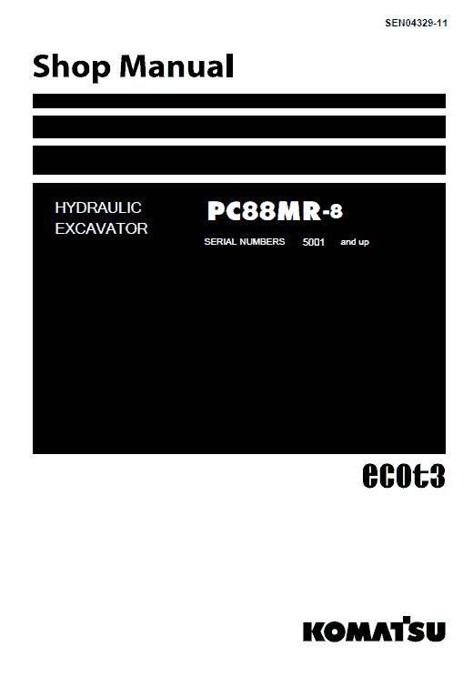 Komatsu Pc88mr-8 Excavator Service Manual