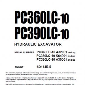 Komatsu Pc360lc-10, Pc390lc-10 Excavator Service Manual