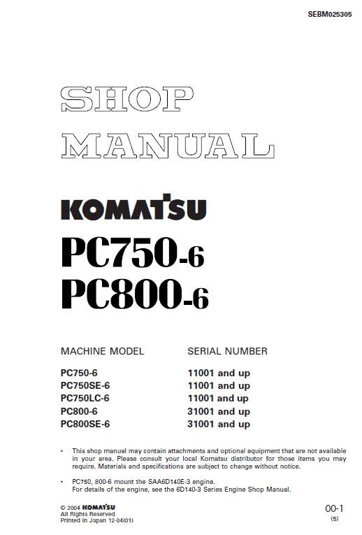 Komatsu Pc750-6, Pc750lc-6, Pc800-6 Excavator Service Manual