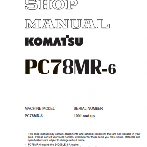 Komatsu PC78MR-6 Excavator Service Manual