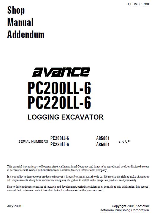 Komatsu Pc200ll-6 Pc220ll-6 Excavator Service Manual