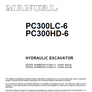 Komatsu PC300LC-6 and PC300HD-6 Excavator Service Manual