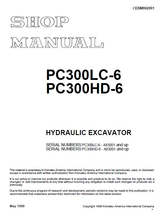 Komatsu Pc300lc-6 And Pc300hd-6 Excavator Service Manual
