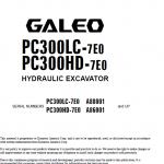 Komatsu Pc300lc-7e0, Pc300hd-7e0 Excavator Service Manual