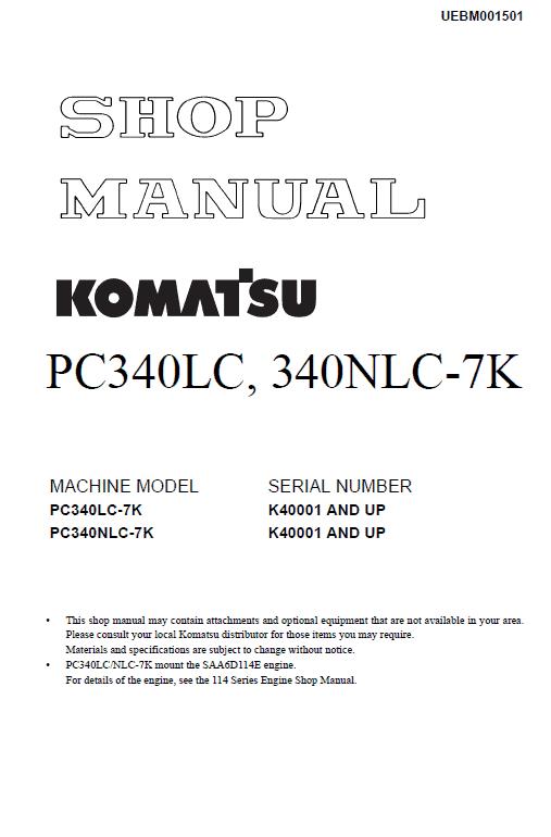 Komatsu Pc340c-7k, Pc340nlc-7k Excavator Service Manual