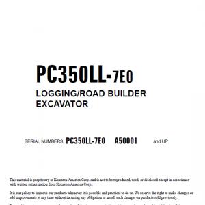 Komatsu Pc350ll-7e0 Excavator Service Manual
