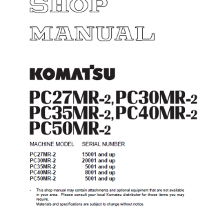 Komatsu PC27MR-2, PC30MR-2, PC35MR-2, PC40MR-2, PC50MR-2 Manual