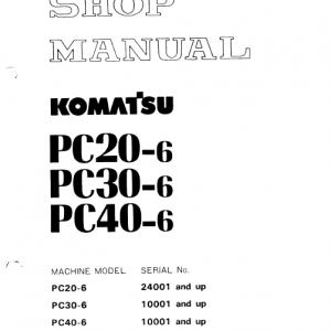 Komatsu Pc20-6, Pc30-6, Pc40-6 Excavator Service Manual