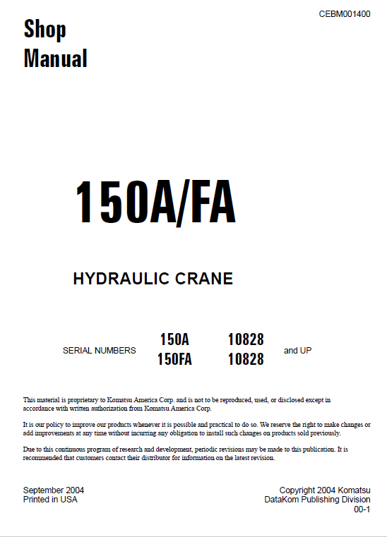 Komatsu 150a And 150fa Hydraulic Crane Service Manual