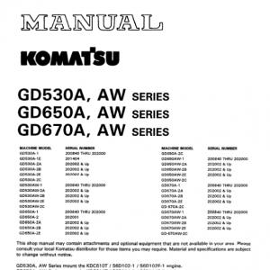 Komatsu Gd530a, Gd650a, Gd670a Series Motor Grader Manual