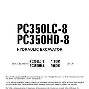 Komatsu Pc400-8, Pc400lc-8 Excavator Service Manual