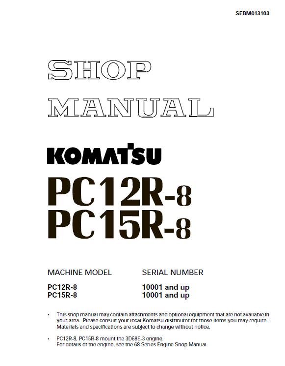 Komatsu Pc12r-8, Pc15r-8 Excavator Service Manual