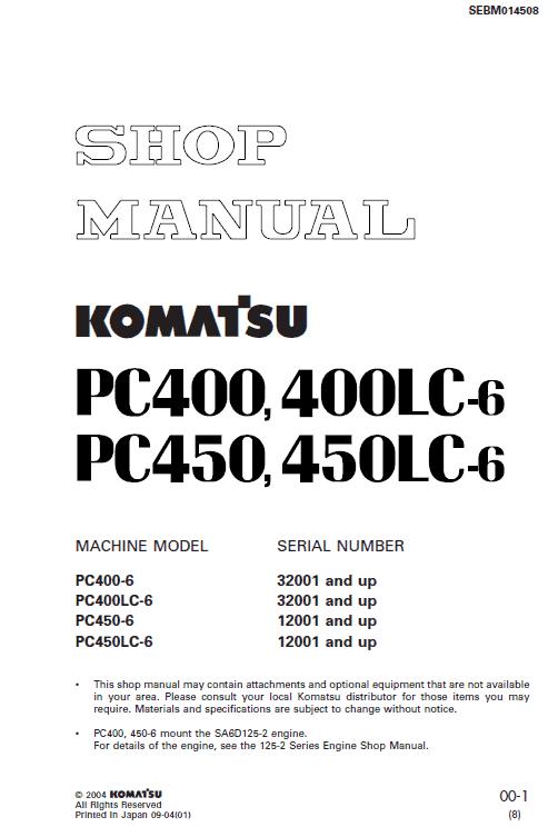 Komatsu Pc450-6, Pc450lc-6, Pc450-6k, Pc450lc-6k Excavator Manual