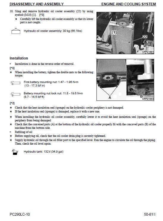 Komatsu Pc290lc-10 Excavator Service Manual