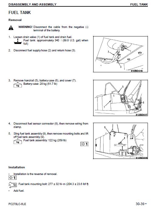 Komatsu Pc270lc-6le Excavator Service Manual