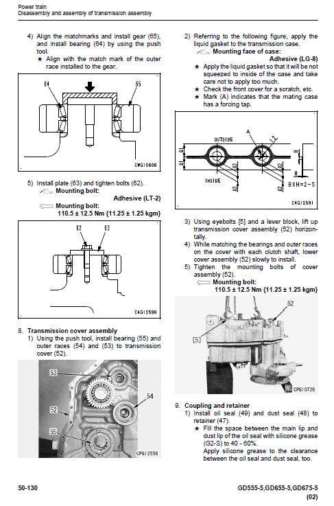 Komatsu Gd555-5, Gd655-5, Gd675-5 Grader Service Manual