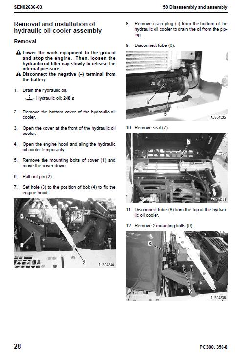 Komatsu Pc300-8, Pc300lc-8, Pc350-8, Pc350lc-8 Excavator Manual