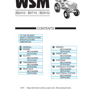 Kubota B2410, B2710, B2910, B7800HSD Tractor Service Manual