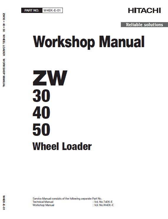 Hitachi ZW30, ZW40, ZW50 Wheel Loader Service Manual