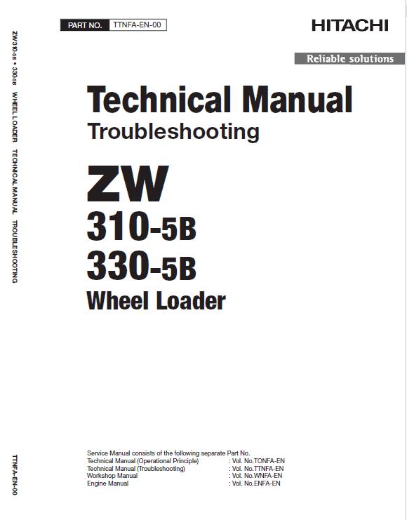 Hitachi Zw310-5a, Zw310-5b Wheel Loader Service Manual