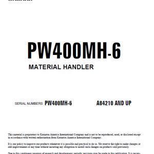 Komatsu Pw400mh-6 Excavator Service Manual