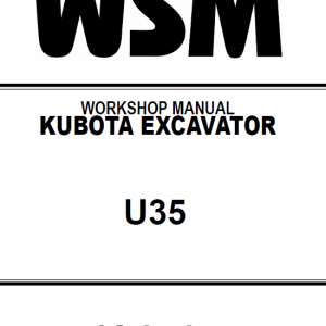 Kubota U35, U35-3 Excavator Workshop Service Manual