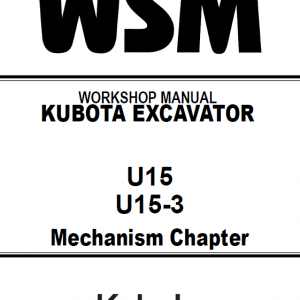 Kubota U15, U15-3 Excavator Workshop Manual