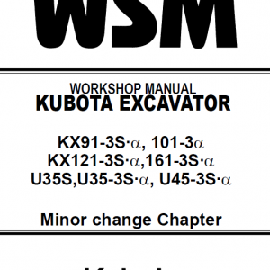 Kubota U35S, US35-3S, US45-3S Excavator Workshop Manual