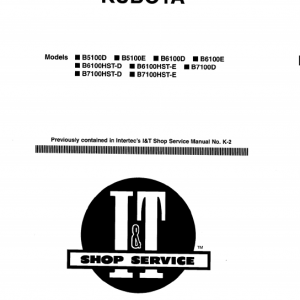 Kubota B5100d, B5100e, B6100d, B6100e, B7100d Tractor Workshop Manual