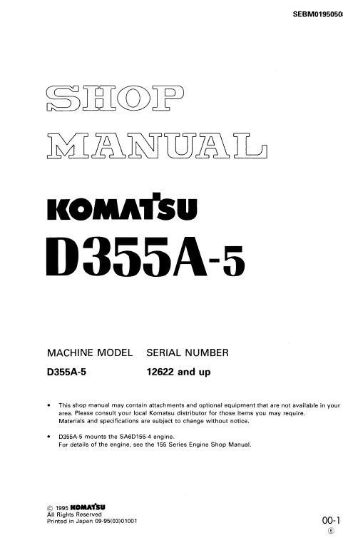 Komatsu D355a-5 Dozer Service Manual