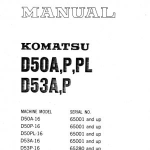 Komatsu D50A-16, D50P-16, D53A-16, D53P-16 Dozer Service Manual