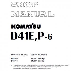 Komatsu D41e-6, D41p-6 Dozer Service Manual
