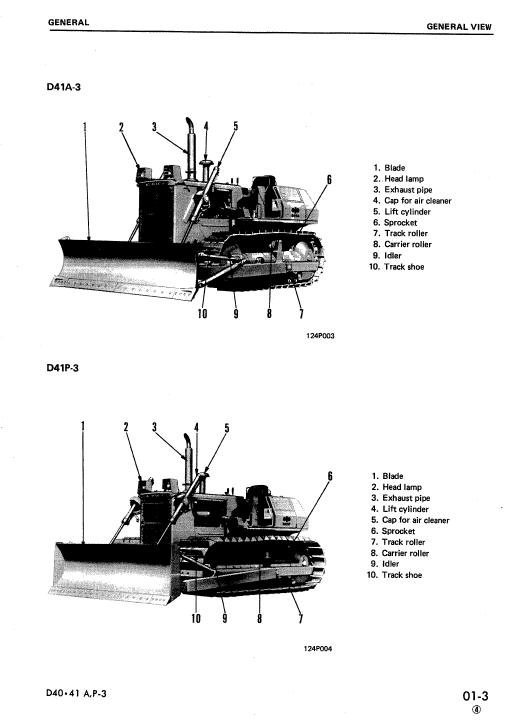 Komatsu D41a-3, D41e-3, D41p-3, D41a-3a Dozer Service Manual