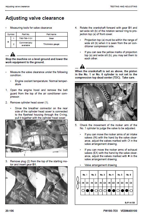 Komatsu Pw180-7e0 Excavator Service Manual