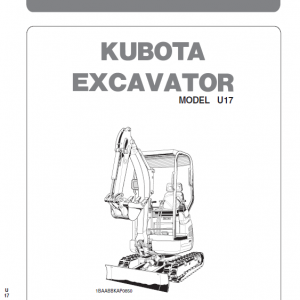 Kubota U17-3a Excavator Workshop Service Manual