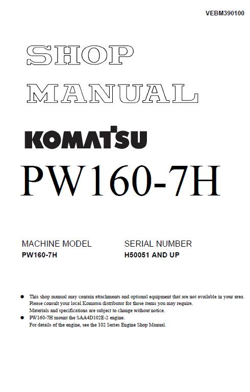 Komatsu Pw160-7 Excavator Service Manual