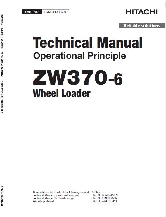 Hitachi Zw370-6 Wheel Loader Service Manual