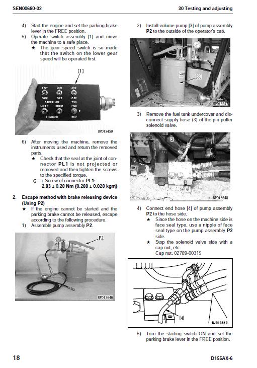 Komatsu D155ax-6 Dozer Service Manual