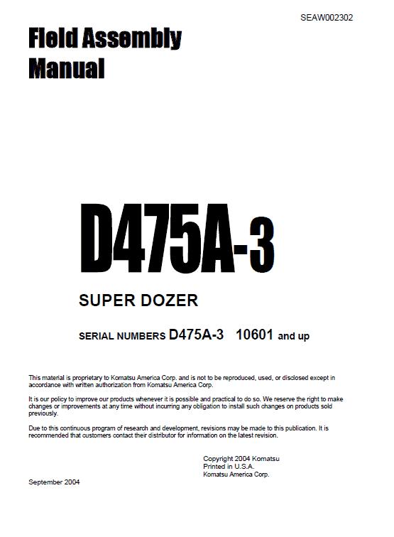 Komatsu D475A-3 Dozer Service Manual