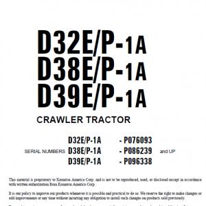 Komatsu D32P-1, D38P-1, D39P-1 Dozer Service Manual